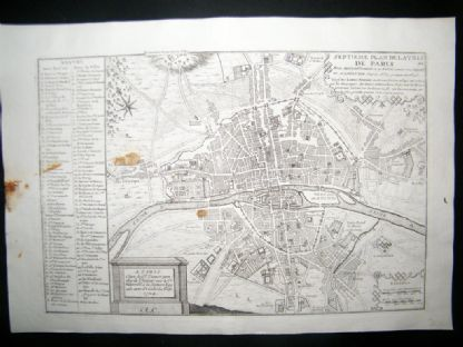 De Fer 1724 Folio Antique Map. Plan of Paris | Albion Prints